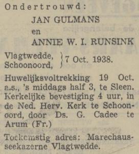Gulmans en Runsink, 7-10-1938, ondertrouwd