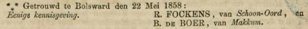 Fockens en de Boer , 22-5-1858, huwelijksadvertentie