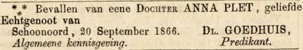 Trientje Goedhuis, 20-9-1866, geboorteadvertentie