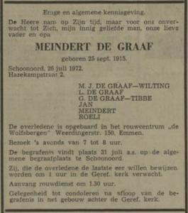 Meindert de Graaf, 26-7-1972, overlijdensadvertentie