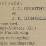 Groothuis en Hummelen, 6-6-1938, verloofd