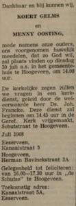 Gelms en Oosting, 7-1968, huwelijksaankondiging