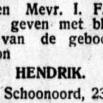 Hendrik Faber, 23-5-1929, geboorteadvertentie
