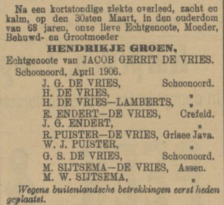 Hendrikje Groen, 30-3-1906, overlijdensadvertentie