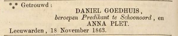 Goedhuis en Plet, 18-11-1863, huwelijksadvertentie
