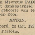 Anton Faber, 28-10-1931, geboorteadvertentie