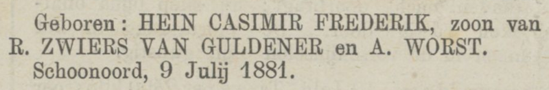 Hein Casimir Frederik van Guldener, 9-7-1881, geboorteadvertentie