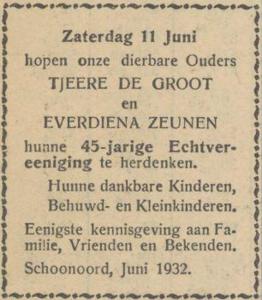 Groot en Zeunen, 11-6-1932, 45 jarig huwelijk