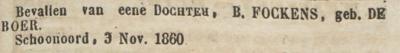 Hestera Maria Fockens, 3-11-1860, geboorteadvertentie