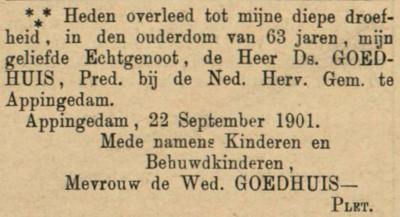 Daniël Goedhuis, 22-1-1901, overlijdensadvertentie