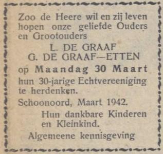 de Graaf en Etten, 30-3-1942, 30 jarig juwelijk