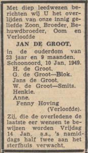 Jan de Groot, 10-1-1949, overlijdensadvertentie