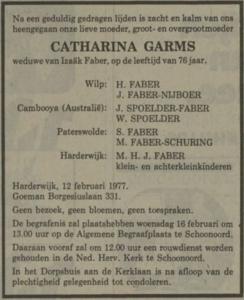 Catharina Garms, 12-2-1977, overlijdensadvertentie
