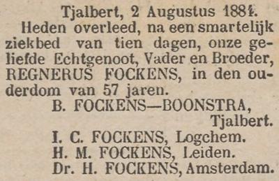 Regnerus Fockens, 2-8-1884, overlijdensadvertentie