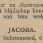 Jacoba Faber, 6-5-1930, geboorteadvertentie