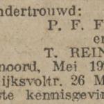Feijen en Reinders, 5-1922, ondertrouwd