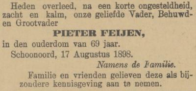 Feijen Pieter, 17-8-1898 overlijdensadvertentie