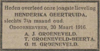 Henderika Geertruida Groeneveld, 20-3-1916, overlijdensadvertentie