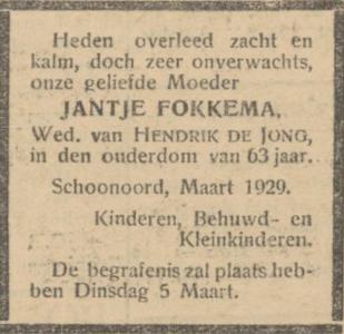Jantje Fokkema, 28-2-1929, overlijdensadvertentie