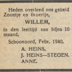 Willem Heins, 4-2-1940, overlijdensadvertentie