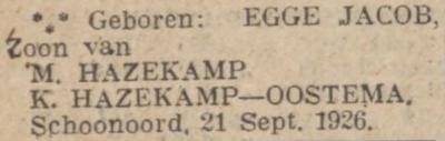 Egge Jacob Hazekamp, 21-9-1926, geboorteadvertentie