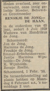Renskje de Haan, 1-2-1950, overlijdensadvertentie