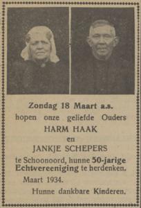 Haak en Schepers, 18-3-1934, 50 jarig huwelijk