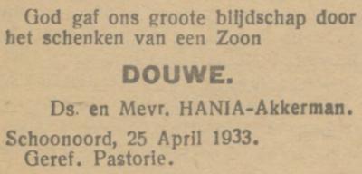 Douwe Hania, 25-4-1933, geboorteadvertentie
