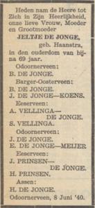Jeltje Haanstra, 8-6-1940, overlijdensadvertentie