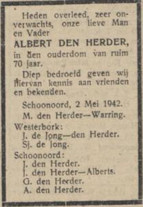 Albert den Herder, 2-5-1942, overlijdensadvertentie