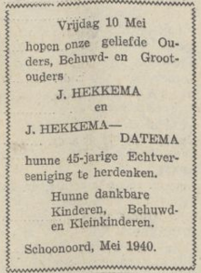 Hekkema en Datema, 10-5-1940, 45 jarig huwelijk