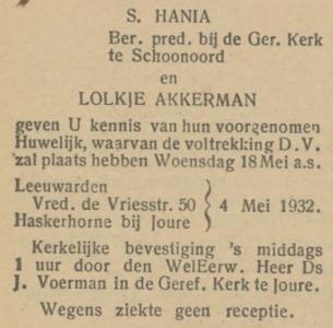 Hania en Akkerman, 4-5-1932, ondertrouwd