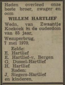 Willem Hartlief, 1-5-1970, overlijdensadvertentie