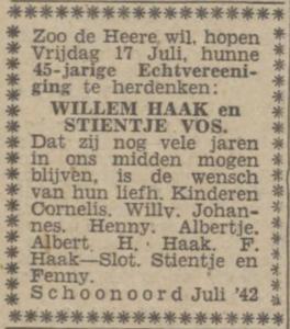 Haak en Vos, 17 -7 -1942, 45 jarig huwelijk