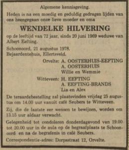 Wendelke Hilvering, 21-8-1978, overlijdensadvertentie