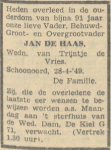 Jan de Haas, 28-4-1949, overlijdensadvertentie
