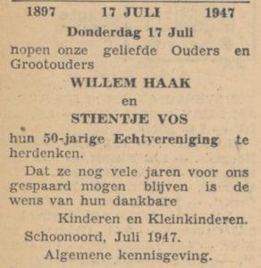 Haak en Vos, 17-7-1947, 50 jarig huwelijk