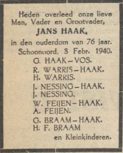 Jans Haak, 3-2-1940, overlijdensadvertentie