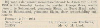 Haak en Moes, 9-6-1931, echtscheiding