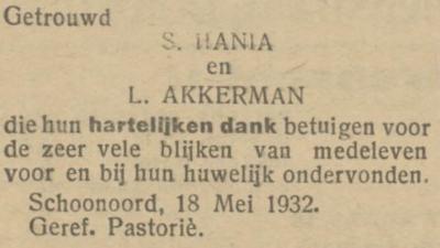 Hania en Akkerman, 18-5-1932, huwelijksadvertentie