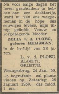 Zelia Heijsman, 24-1-1950, overlijdensadvertentie