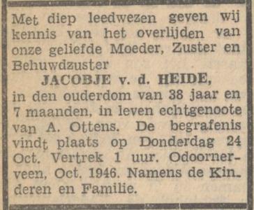 Jacobje van der Heide, 21-10-1946, overlijdensadvertentie
