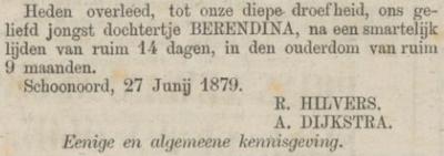 Berendina Hilvers, 27-6-1879, overlijdensadvertentie