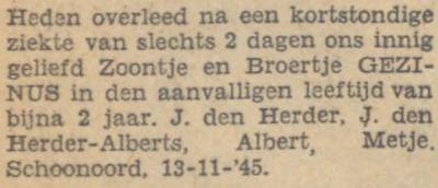 Gezinus den Herder, 13-11-1945, overlijdensadvertentie