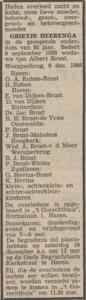 Grietje Heerenge, 6-12-1966, overlijdensadvertentie