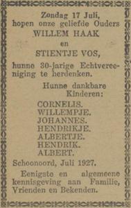 Haak en Vos, 17-7-1927, 30 jarig huwelijk