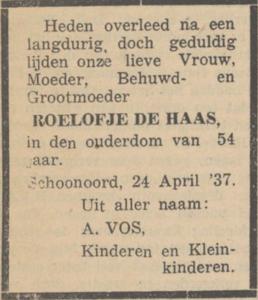 Roelofje de Haas, 24-4-1937, overlijdensadvertentie