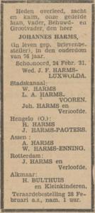 Johannes Harms, 24-2-1931, overlijdensadvertentie