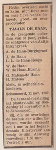 Tjaale de Haan overlijdensadvertentie