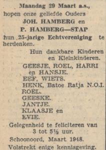 Hamberg en Stap, 29-3-1948, 25 jarig huwelijk